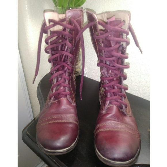 491e7d30b23 Steve Madden Troopa Wine color combat boots